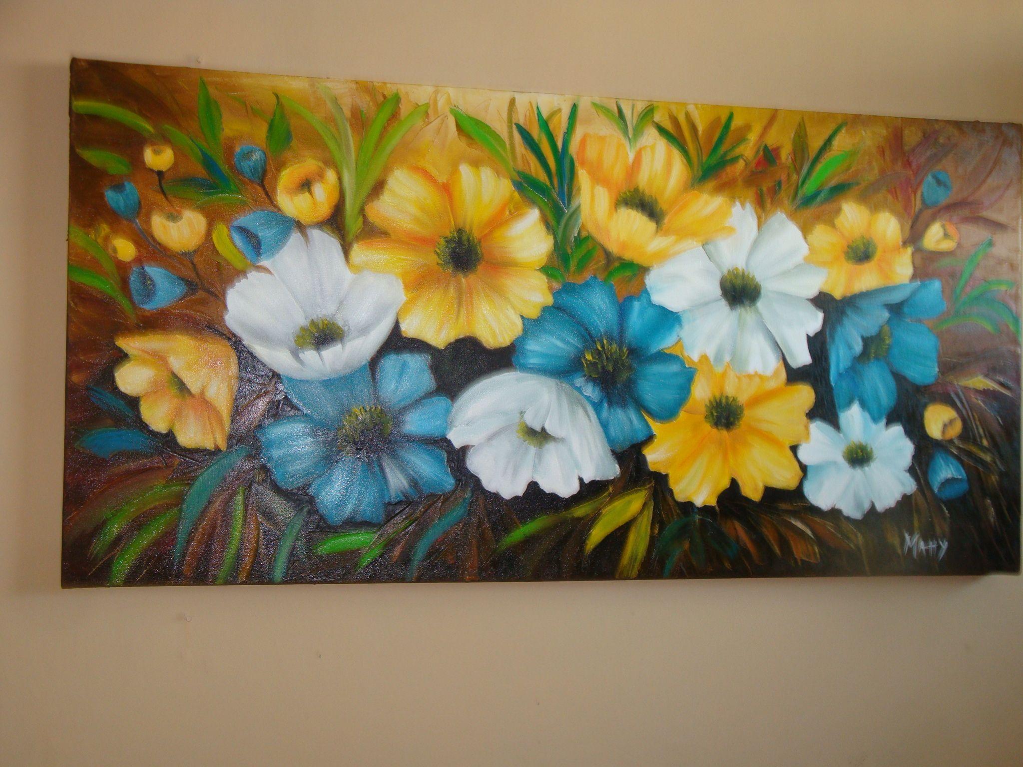 Cuadro pintado al oleo de mi jardin pinturas pinterest for Cuadros de oleo modernos