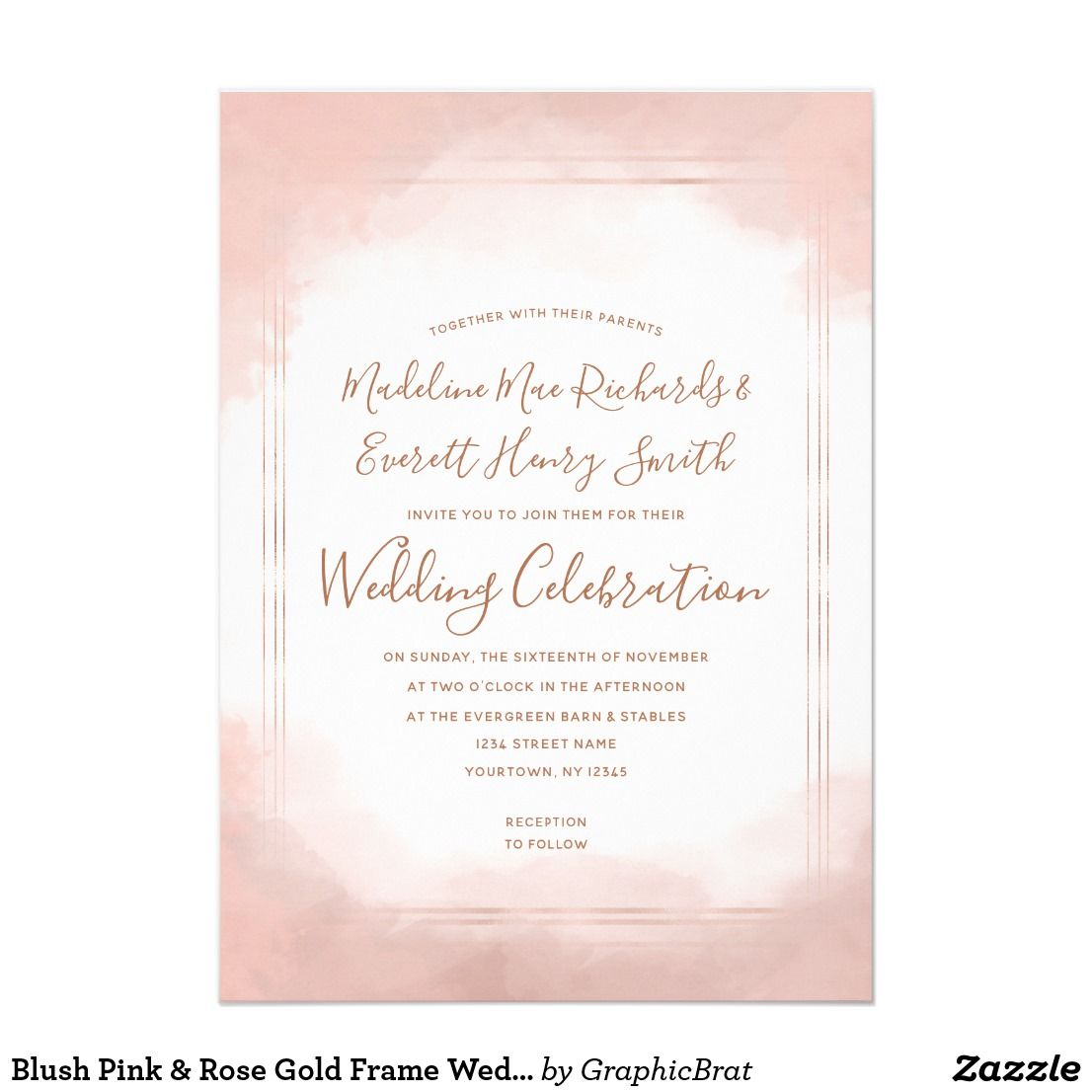 Blush Pink & Rose Gold Frame Wedding Invitation   Wedding & Bridal ...
