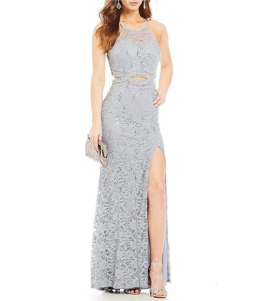 B darlin beaded infinity waist lace long dress prom dresses
