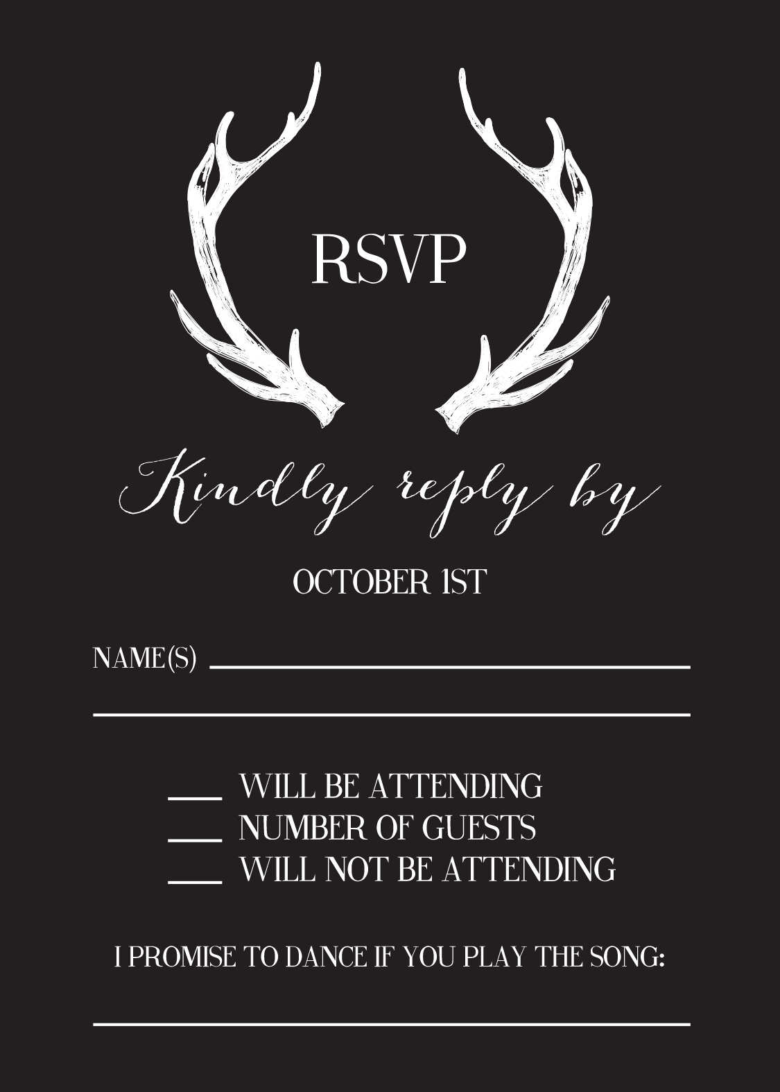 Simple Black And White Antler Wedding Reply Card Matching