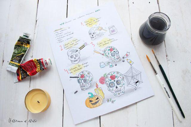 Diy ilustrado para decorar una calavera mejicana