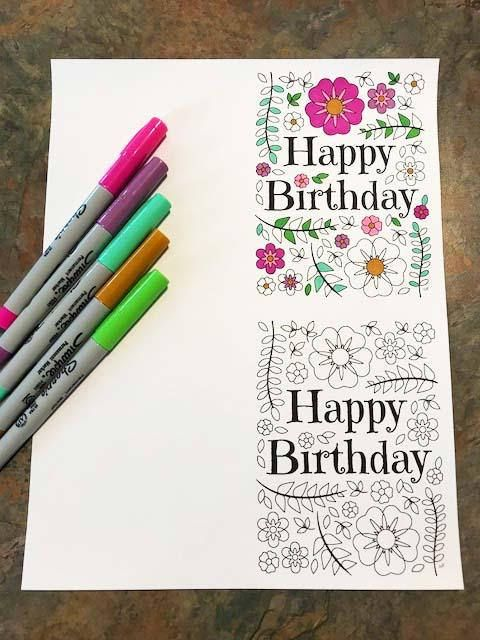 Happy Birthday Card with Flowers and Leaves PDF Zentangle