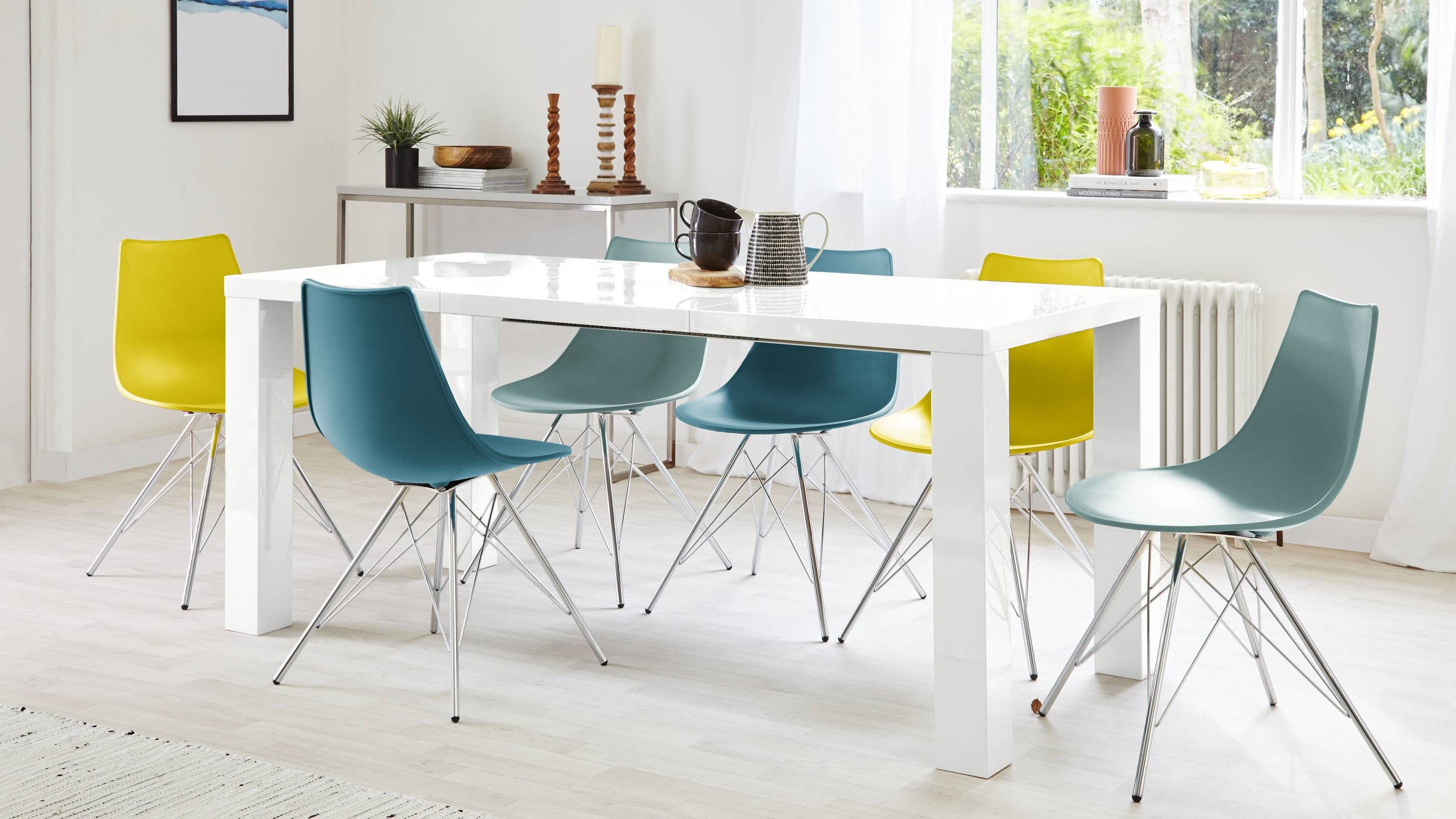4 To 8 Seater White High Gloss Extending Dining Table