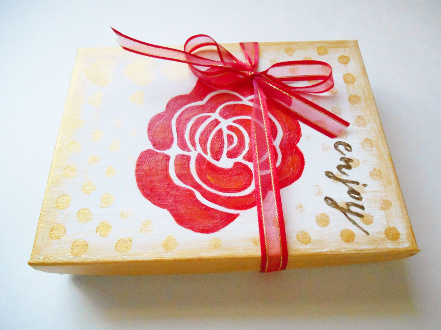 Hand painted Jewelry Box 4 3/4 X 6 Gift box with Ribbon Hand painted ...