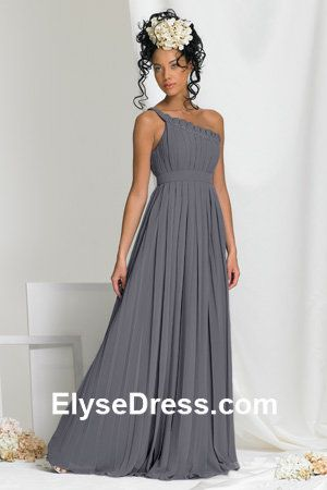 $86 Chic One shoulder Chiffon Silver pleated dress beaded ...
