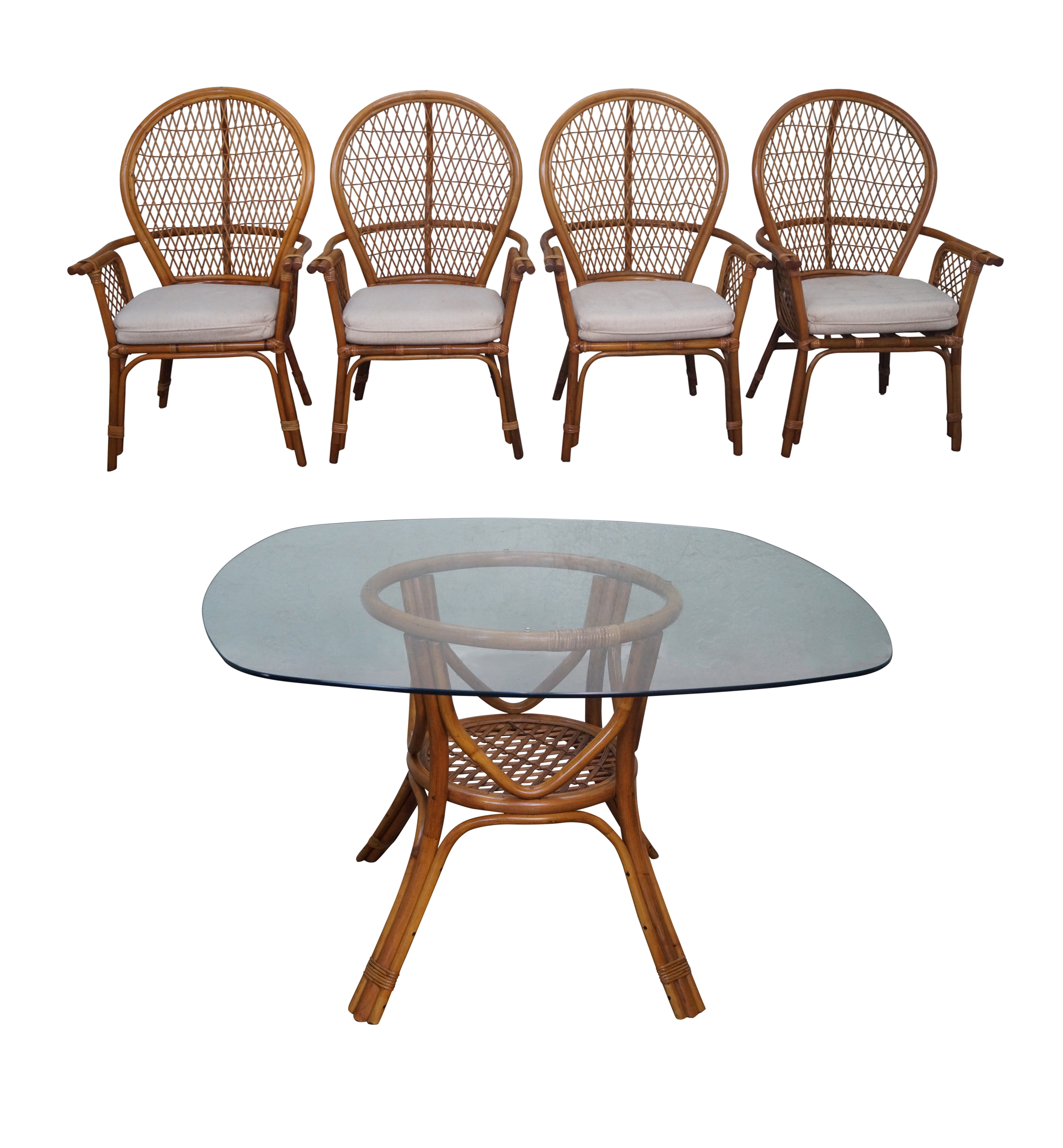 Vintage Rattan Glass Top Dining Table Chair Set Glass Top