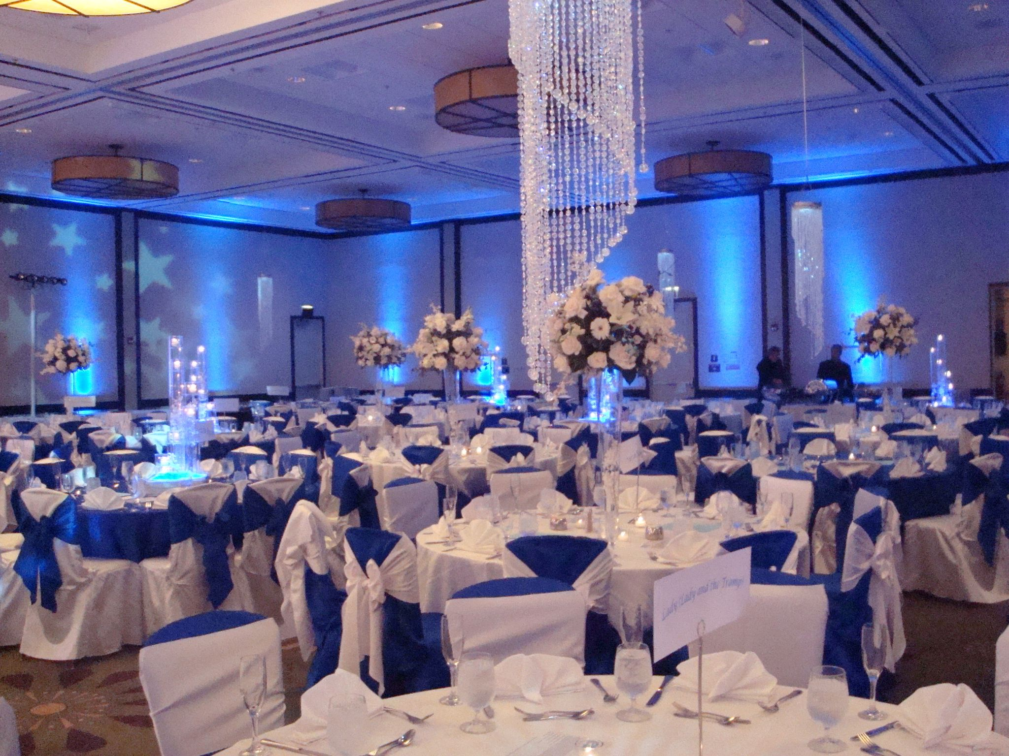 Reception Flowers Decor White Blue Silver Flowers Linda