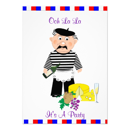 A Cute And Fun Invitation For A French Themed Evening Or Birthday - Invitation in french to birthday party
