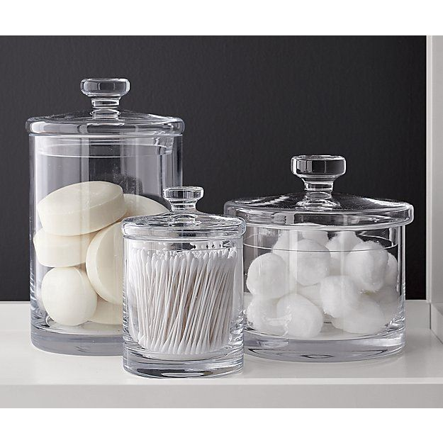 Bathroom Canister Glass Canisters  Pinterest  Simple Bathroom Glass Canisters And
