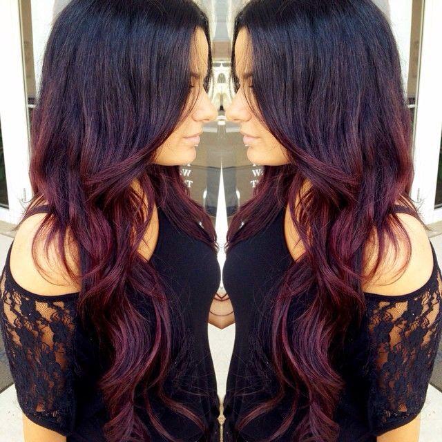 Dark Brunette Burgundy Ombre Hair Maroon Hair Hair Balayage Hair