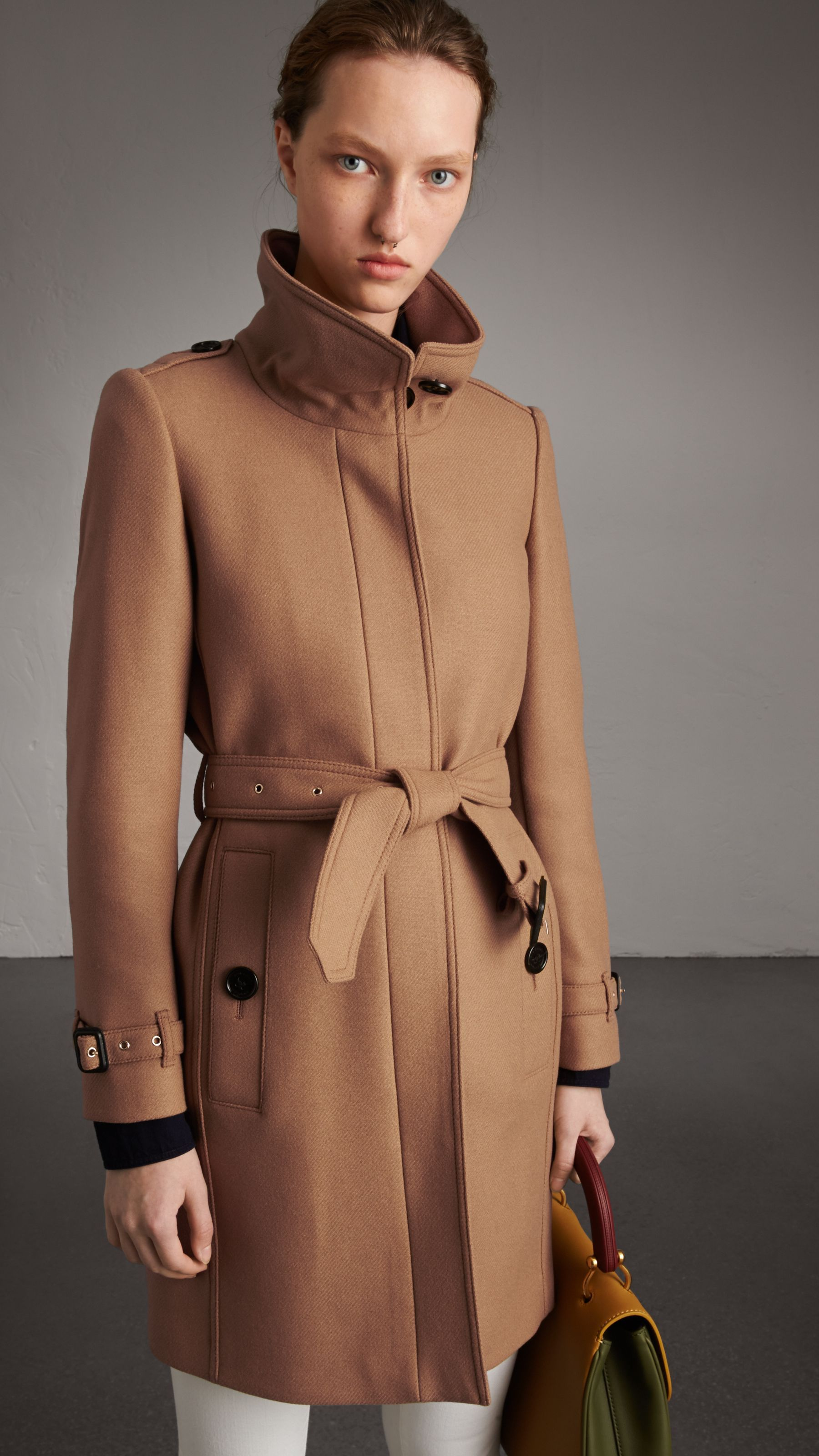 51a877d63bc03 Technical Wool Cashmere Funnel Neck Coat in Camel - Women