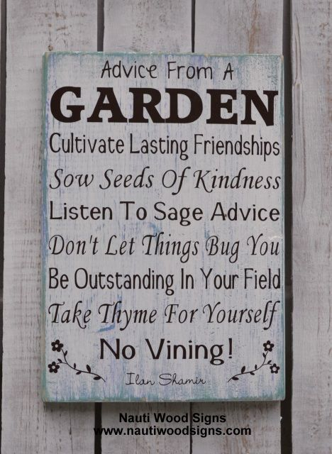 Garden Sign - Garden Decor - Yard Gardener - Rustic Quote ...