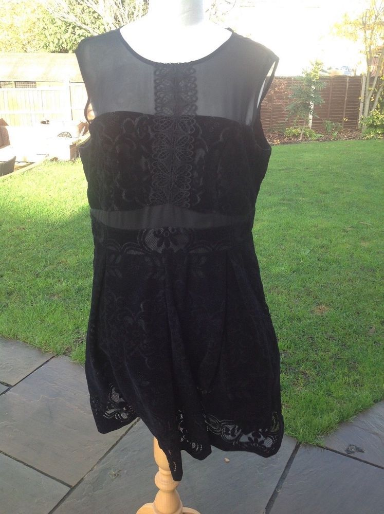 3494286f7cf57 Black velvet burnout dress with sheer detail size 18 next ideal xmas party  wear #fashion #clothing #shoes #accessories #womensclothing #dresses (ebay  link)