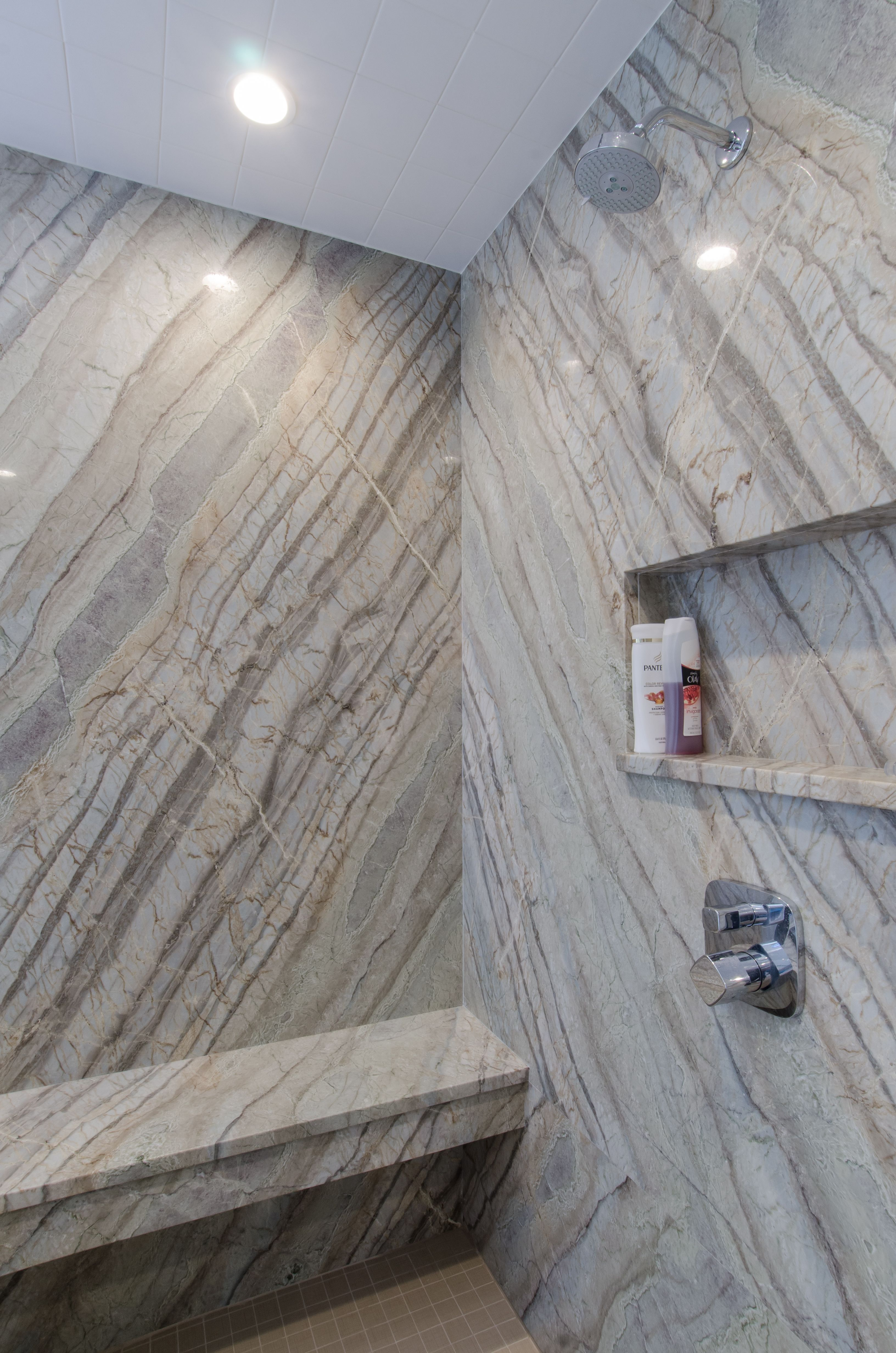 Shower Idea - granite shower walls and seat, built in ...