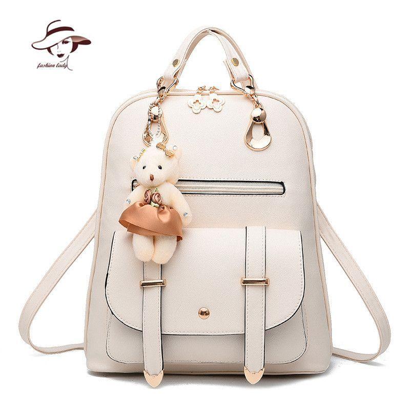 cf9105404f586 New Fashion Women Backpacks Women's PU Leather Backpacks Girl School Bag  Ladies Bags Designer Women Backpack High Quality Bolsas