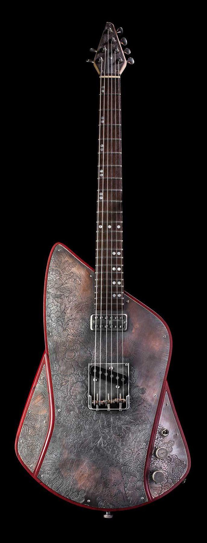 Vice 707 Vice Guitars Is Located In Munich Germany The Steel Top Guitar 707 Features An Engraved Three Piece Copper T Guitar Gadgets Unique Guitars Guitar