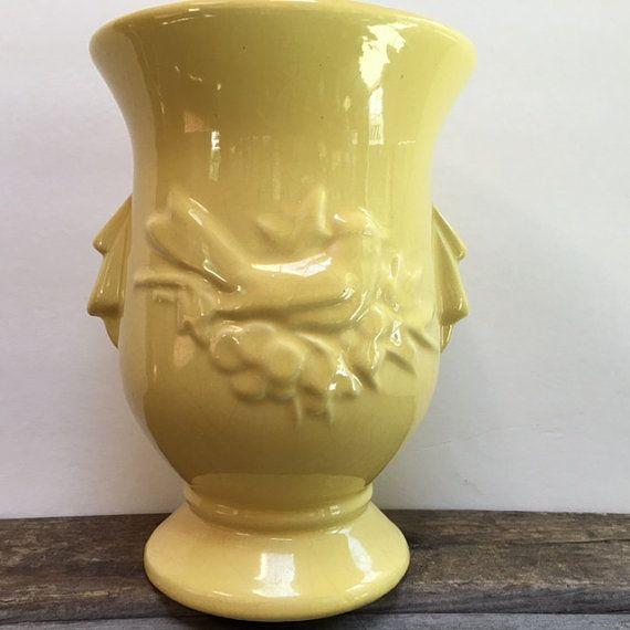 Vintage Mccoy Vase Large Yellow Vase Usa Pottery Raised Bird And