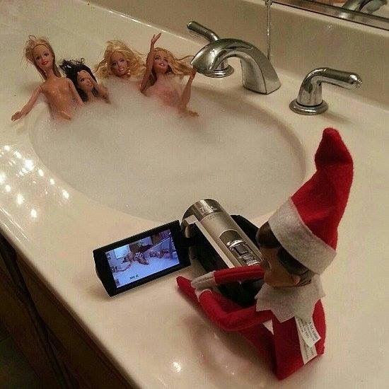 Day 12 Inappropriate Elf on the Shelf:  Voyeuristic Elf.