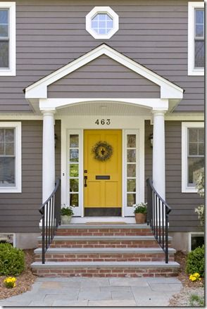 Remodelaholic Free Yellow And Grey Printables Exterior House Colors Yellow Front Doors Front Door Paint Colors