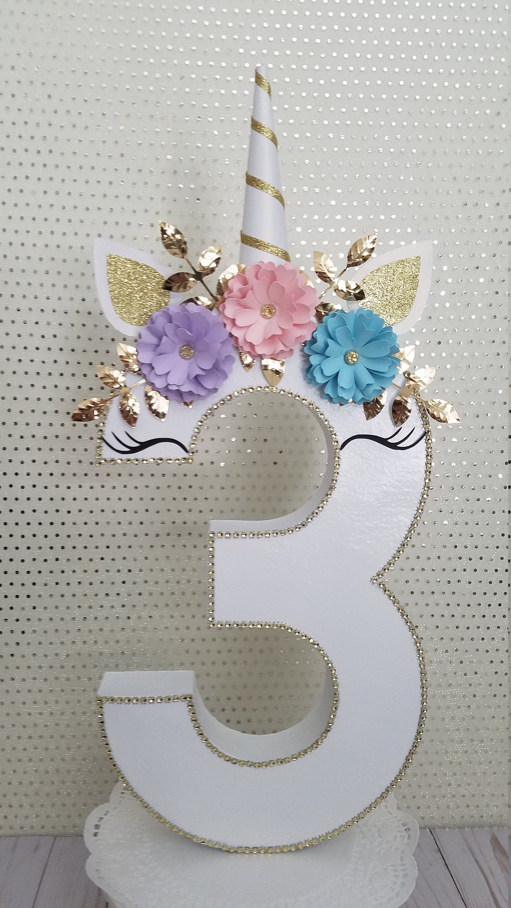 Unicorn birthday party, Unicorn number decor, Photo prop decor, Smash cake unicorn decor - Unicorn birthday party decorations, Unicorn birthday parties, Unicorn themed birthday party, Unicorn birthday, Unicorn party, Unicorn theme party - 2 inch This number or any other number can be designed in any color to match your theme  If you need additional numbers send me a message and I will love to create that special number that you need  ANY THEME CAN BE DONE  CUSTOM ORDERS ARE ALWAYS WELCOME  The flowers may get flattened while shipped but can be brought back to their original shape with just a little fluffing by hand 0) Please note that these papier mache numbers are hand painted and decorated and may have some very minor imperfections  Thank you for visiting my shop!!!