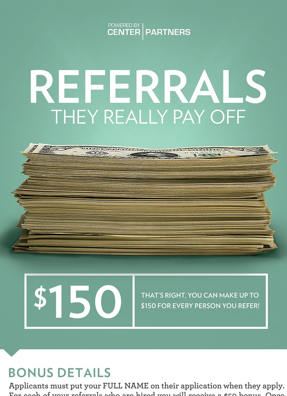 Center Partners — Employee Referral Program Poster Close ...