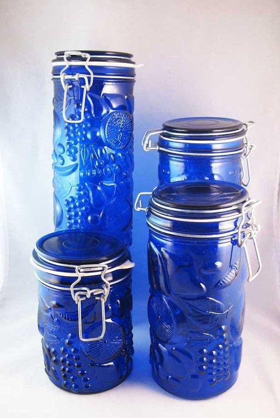 Cobalt Blue Glass Canister Set Fruit Design By Element 4 Glass Canister Set Blue Glass Canister Sets
