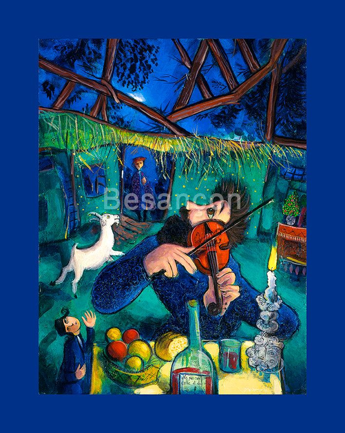 Canar jewish fiddler oil on canvas painting by rabbi for Israeli artists oil paintings