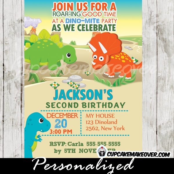 Printable Prehistoric Dinosaur Birthday Invitation With Matching Thank You Cards For Boys This Personalized Jurassic Dinos Themed Party Features