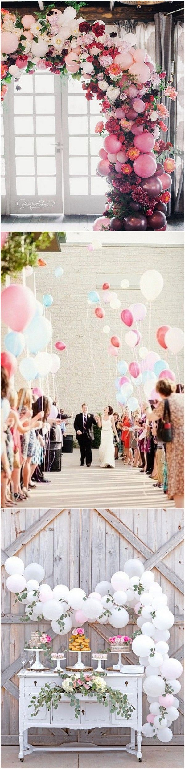 Pink and maroon wedding decor   Romantic Wedding Decoration Ideas with Balloons  Dessert table