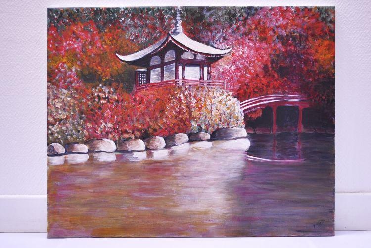 Tableau Peinture Peinture Acrylique Paysage Japon Feerie Japonaise Japon Paysage Tableau Peinture Acrylique Tableau Peinture