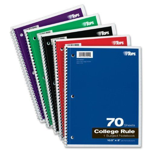 TOPS 1-Subject Spiral Notebooks, College Rule, 8 X 10.5