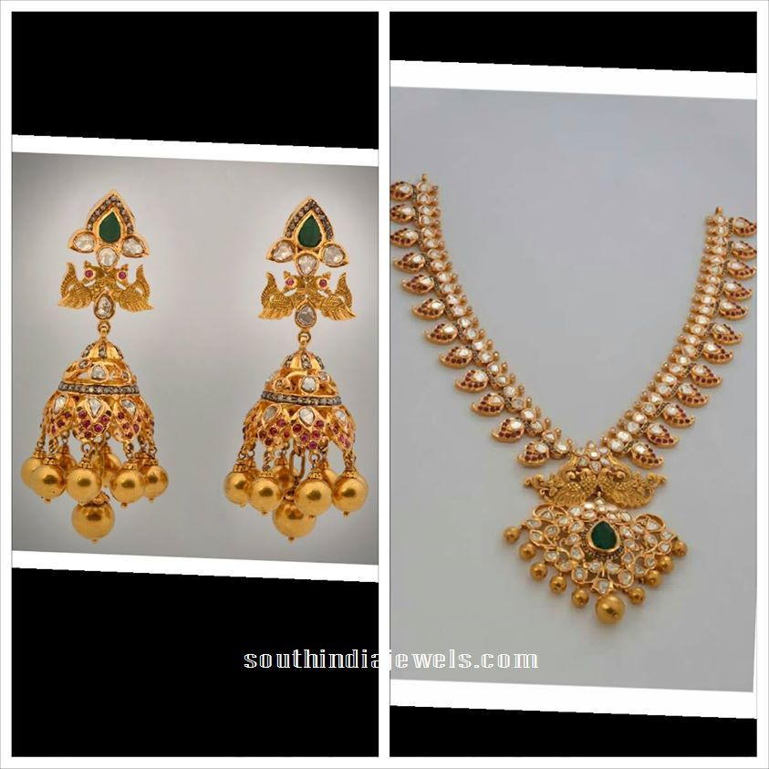 22 Carat Gold Pachi Mango necklace and Jhumka from MOR Jewellers ...