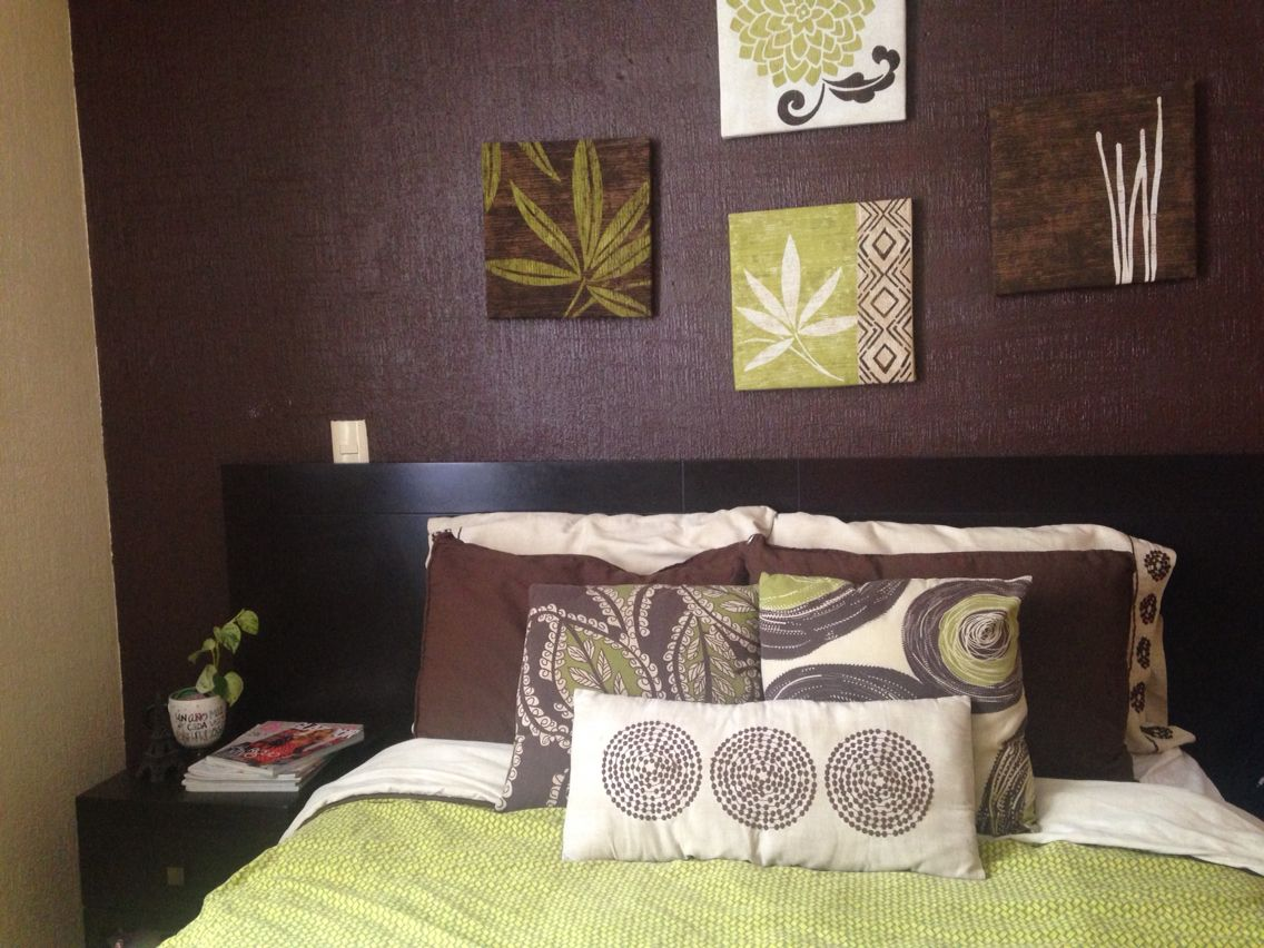 Colores En Cafe Y Verde Excelente Combinacion Para Dar Un Aire Fresco Tranquilo Y De Naturaleza A Mi Reca Decoraciones De Dormitorio Decoracion De Unas Hogar