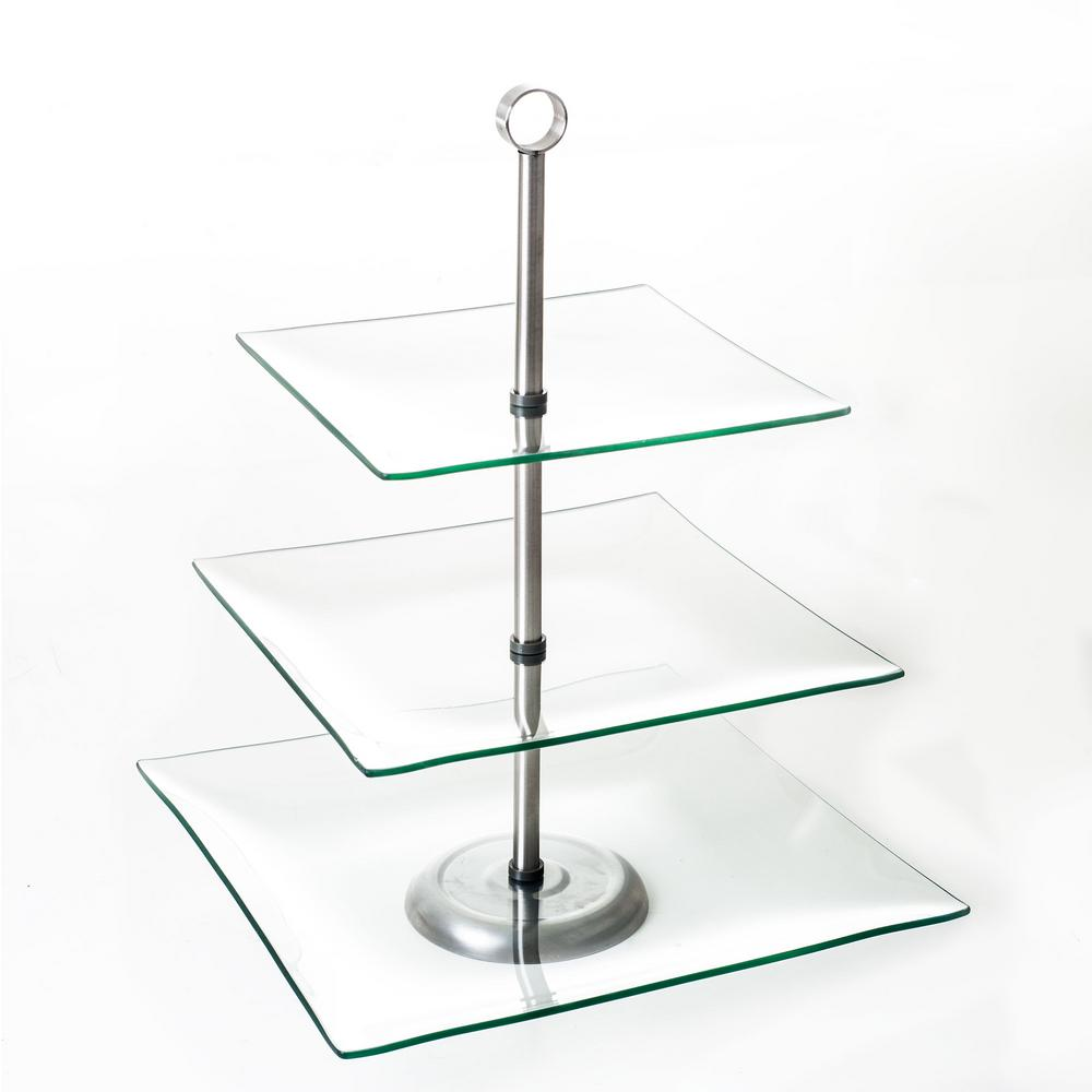 Chef Buddy 3 Tier Square Glass Cake Stand Hw0318001 The Home Depot In 2020 Square Glass Cake Stand Tiered Dessert Stand Glass Cake Stand