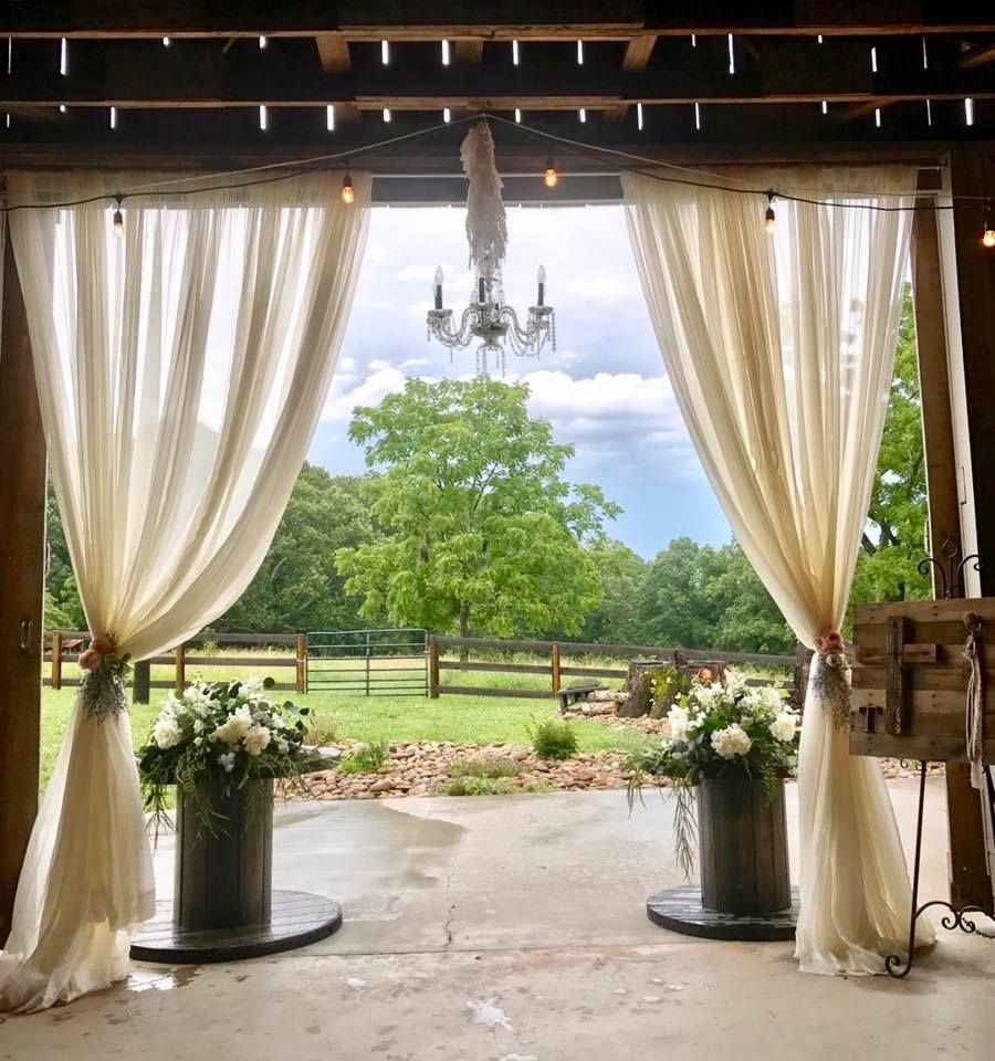 Outdoor Wedding Ceremony Doors: Wire Spools At The Draped Doors