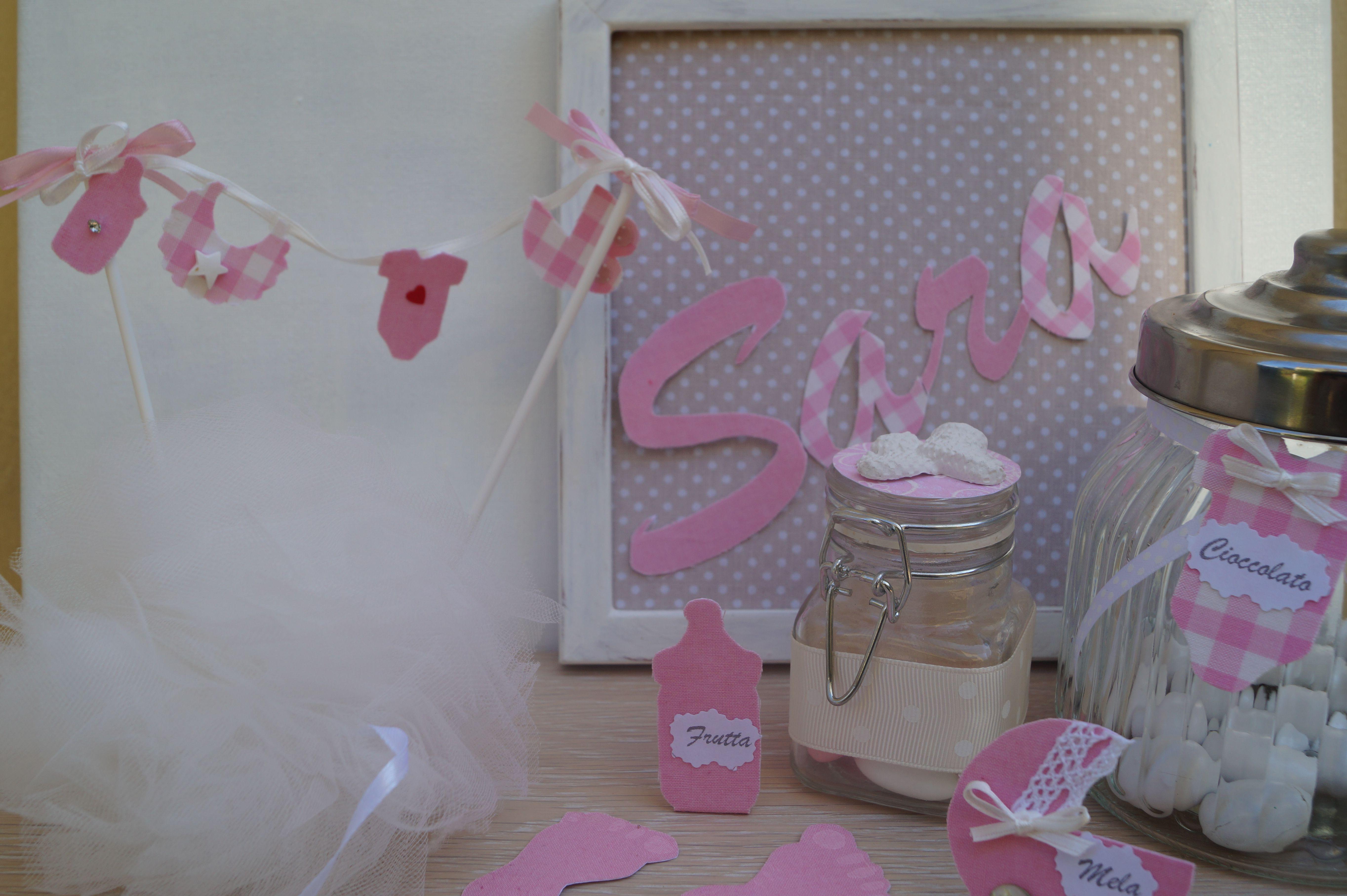 Decorazioni battesimo cake topper per torta scritta bimba tag per confetti bomboniera - Decorazioni per battesimo bimba ...