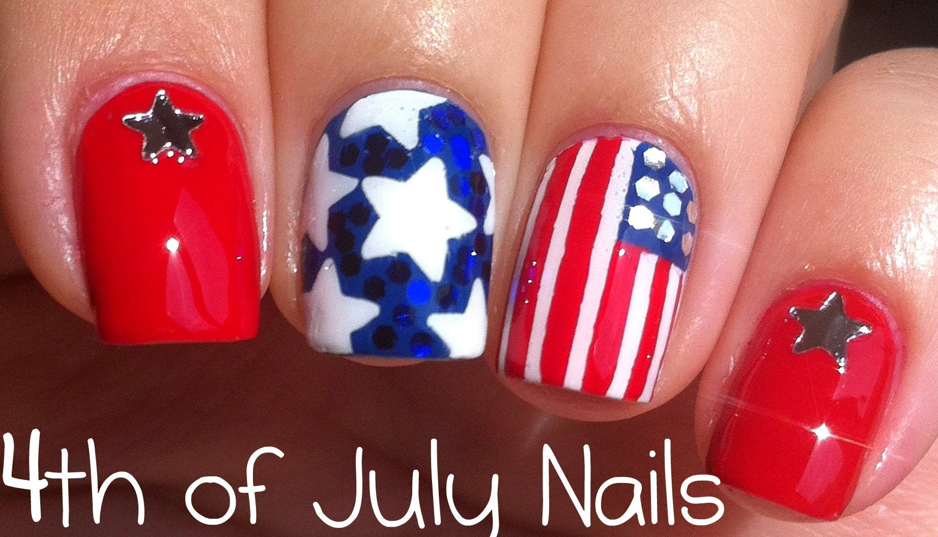 Th of july nail art tutorial red white u blue pinterest art