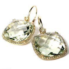 14kt Yellow Gold Green Amethyst Earrings