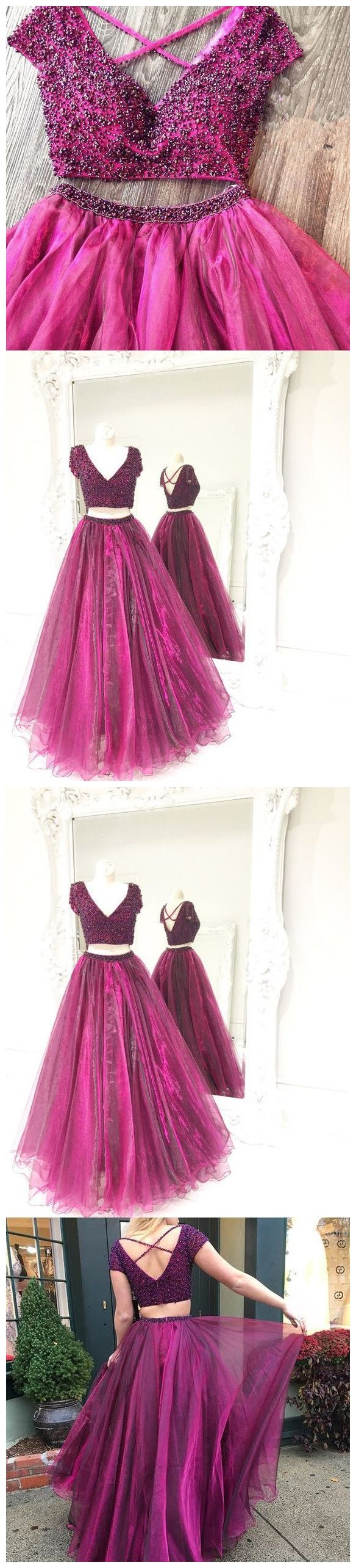 Sexy two piece criss cross beaded top long prom dresses homecoming