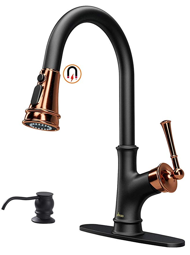 Appaso Matte Black And Rose Gold Pull Down Kitchen Faucet With