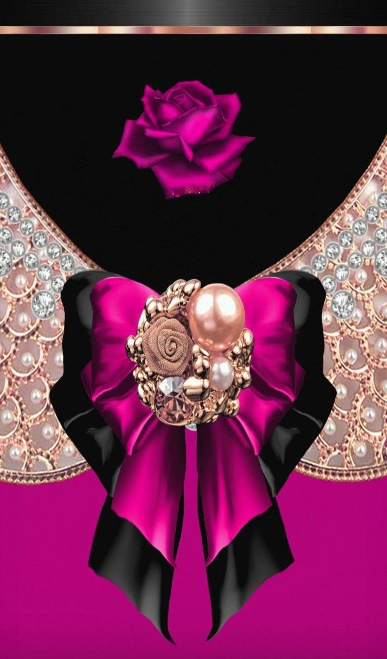 Black and pink and gold | Bling wallpaper, Bow wallpaper ...