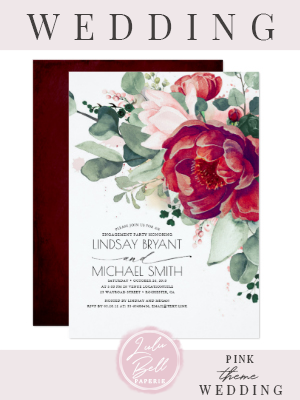 Burgundy Red and Blush Pink Flora Engagement Party Invitation | Zazzle.com #dressesforengagementparty