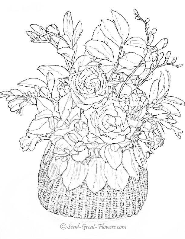 Colouring Pages Of Flowers In Vase : Flower page printable coloring sheets to see more