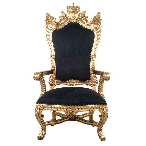 Gentil Chair King Throne Gold Leafed Solid Mahogany Velvet Nail Trim Handmade New  NEW #Traditional