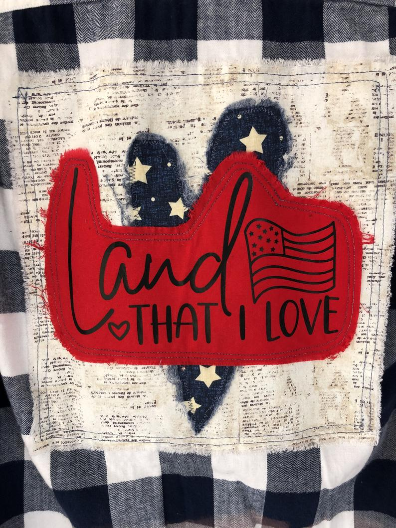 Patriotic America Flag Land That I Love Lyrics Distressed Etsy In 2020 America Flag Buffalo Plaid Flannel Red Fabric