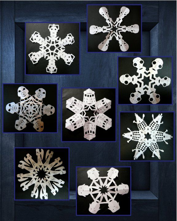 Some of my Doctor Who snowflakes from this year and last.  Top to bottom: Silence, Cybermen, the Empty Child, Slitheen, TARDIS, Dalek, Weeping Angels, and Adipose.