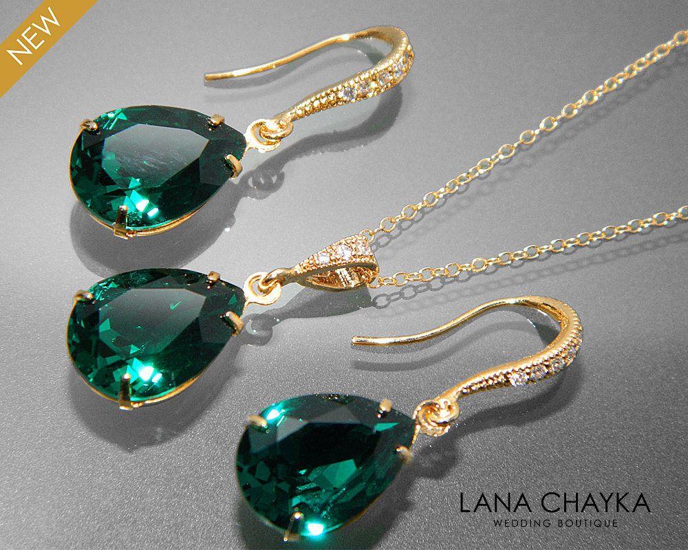 Emerald Green Crystal Jewelry Set Emerald Gold Ear