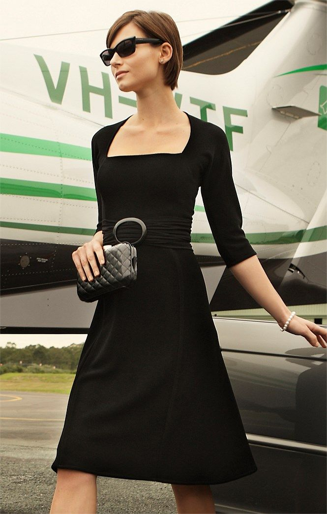 3/4 Sleeve Black Cocktail Dress