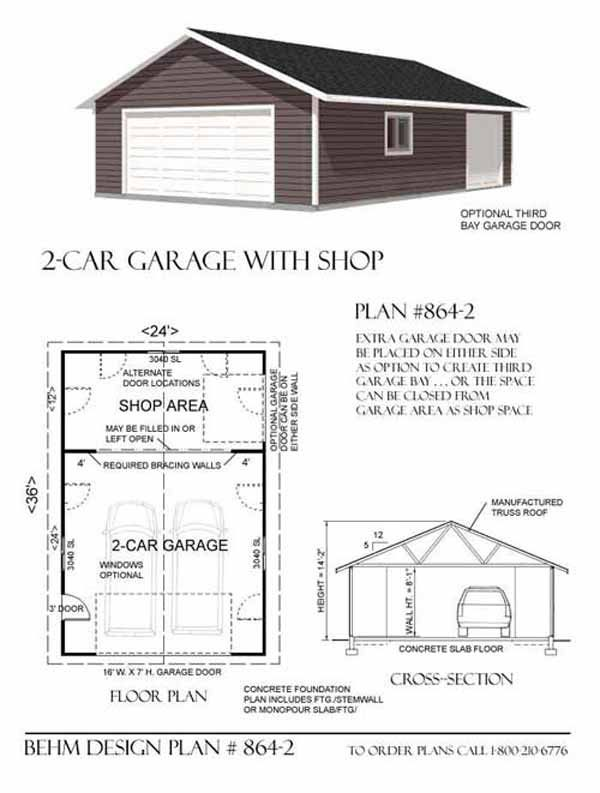 Two car garage with rear bay shop plan 864 2 24 39 x 36 for 2 bay garage