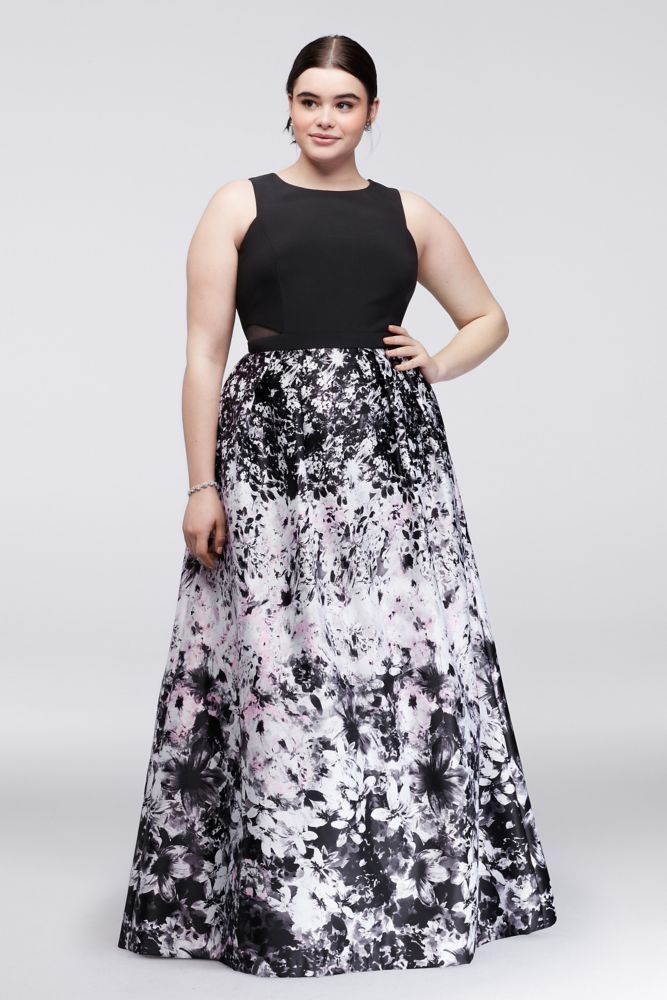 8217198e7b4b4 Printed Plus Size Ball Gown with Illusion Sides - Black   Pink